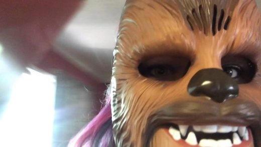 Scaring-My-Husband-and-Dogs-with-Chewbacca-Mask