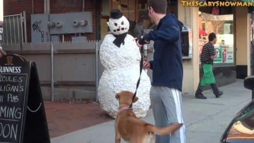 Scary-Snowman-Puppy-Dog-Hidden-Camera-Practical-Joke-Compilation